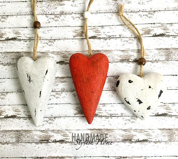 farmhouse heart clay heart set of 3 clay hanging hearts red