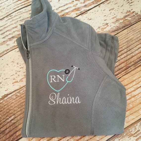 Personalized stethoscope full zip fleece jacket, registered nurse gift, rn, lpn, monogrammed