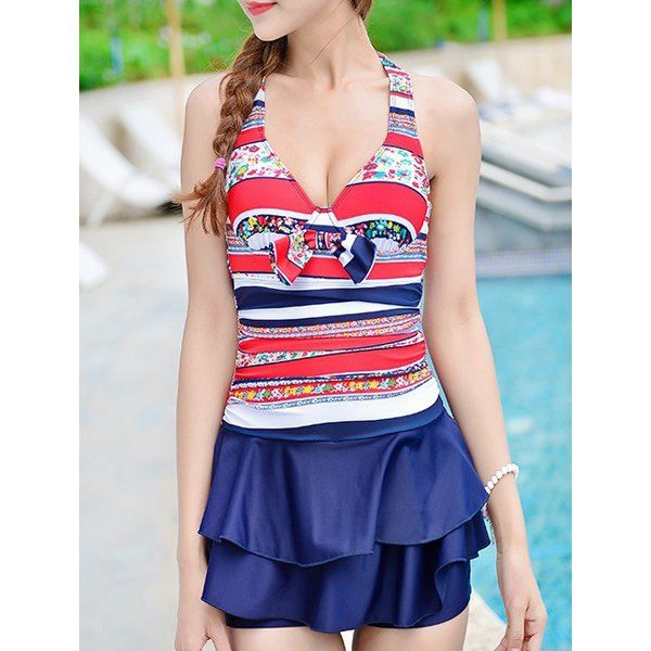 Cute Halter Striped Ruffled Underwire One-Piece Swimwear For Women #CLICK! #clothing, #shoes, #jewelry, #women, #men