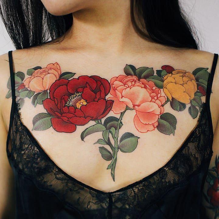 Flower Tattoo Idea Chest Tattoos For Women Tattoos For Women Flowers Chest Piece Tattoos