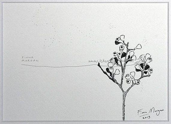 WhereFishSing.com Fiona Morgan, pen drawing 'Meditative Study' #WhereFishSing JAPANESE Style Australian GUMNUTS Matted Nature Nature illustration ORIGINAL Botanical Drawing, Black & White, pen & ink, zen, mindfulness