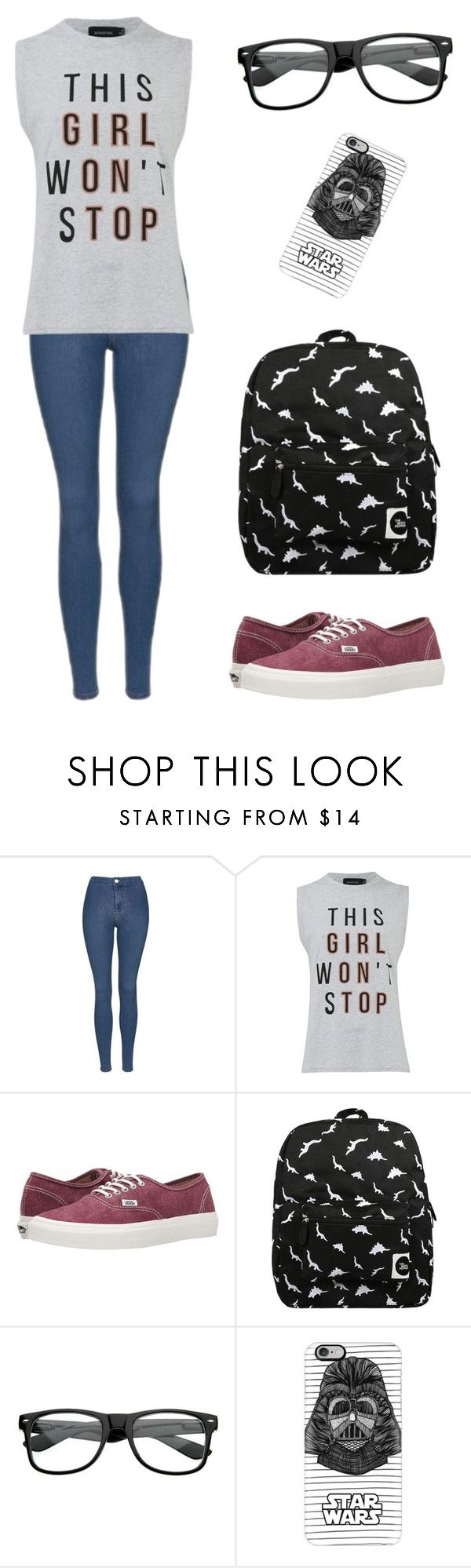"""Cool Geek"" by dancingmarionette ❤ liked on Polyvore featuring Topshop, MINKPINK, Vans, Forever 21 and Casetify"