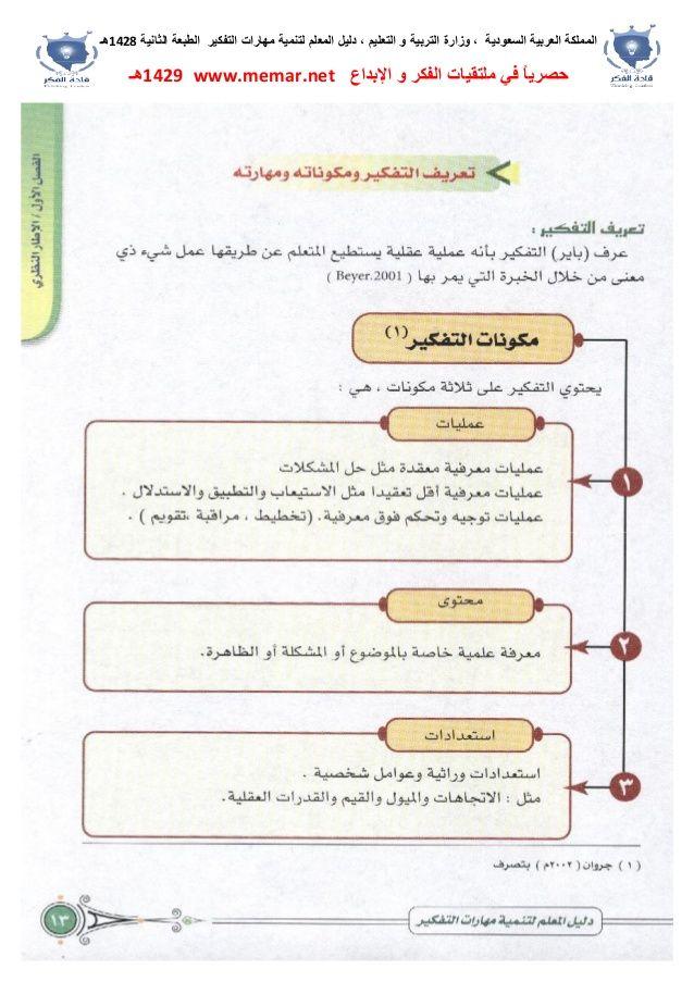 دليل المعلم لتنمية مهارات التفكير