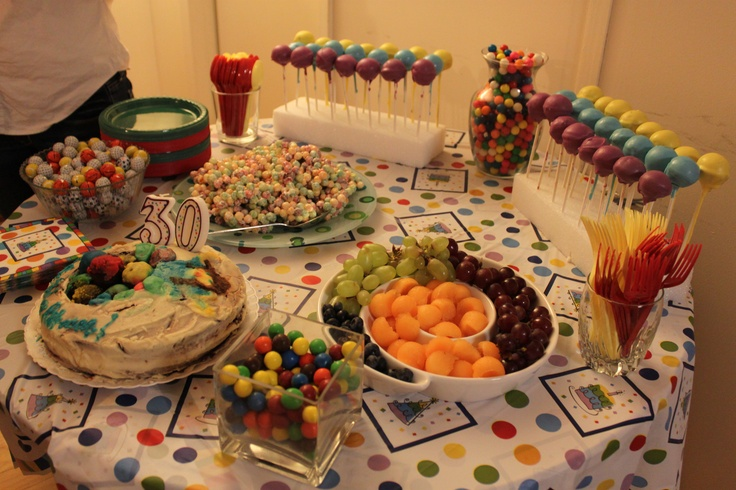 Ball Pit Themed Food  - Round and Colorful. Cake Pops, Gumballs, Balled Melon, Blueberries, Grapes, Trix Treats, Pretzel M and Ms. Great for any birthday party or polka dot themed party also!