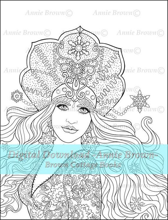 Adult Coloring Pages Snow Queen Line Art Fantasy Digi Stamp