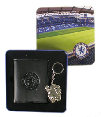 Chelsea FC Leather Wallet & Keyring in a Tin | Chelsea FC Gifts | Chelsea FC Shop
