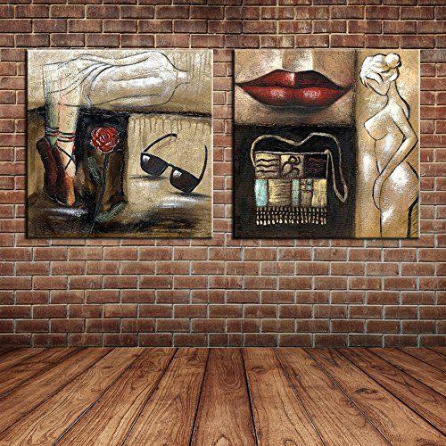 IPLST@ Pintura al óleo roja de los labios rojos de la mujer desnuda atractiva moderna del arte en la lona, cuadros grandes de la pared para la sala de estar, decoración del dormitorio -24x24inchx2pcs (Sin marco, sin bastidor) ✿ ▬► Ver oferta: https://cadaviernes.com/ofertas-de-cuadros-para-comedores/ Para ver mas visita este enlace https://cadaviernes.com/ofertas-de-cuadros-para-comedores/