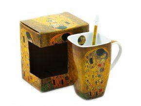 Porcelánový hrnek 600 ml se lžičkou - Gustav Klimt