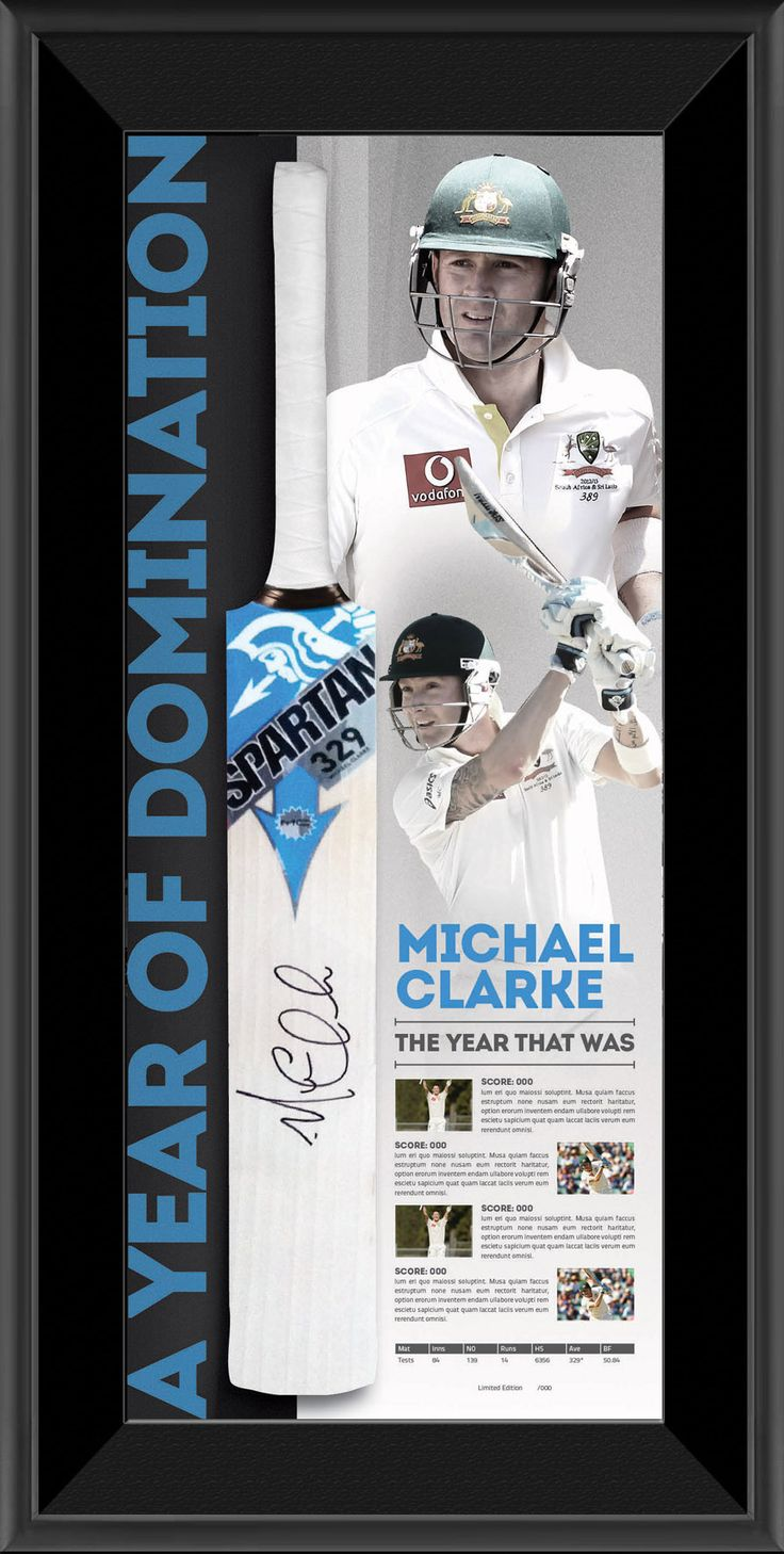 Each bat will be personally signed by Clarke and will delivered in January so as to include the full statistical and pictorial history of one of the greatest years in the 140 year history of the game. Framed Includes full statistical & pictorial history of Clarke's 2012 year Endorsed by Cricket Australia Complete with COA and a-Tag authentication · Limited release to coincide with Clarkes highest score in 2012 (currently 329)