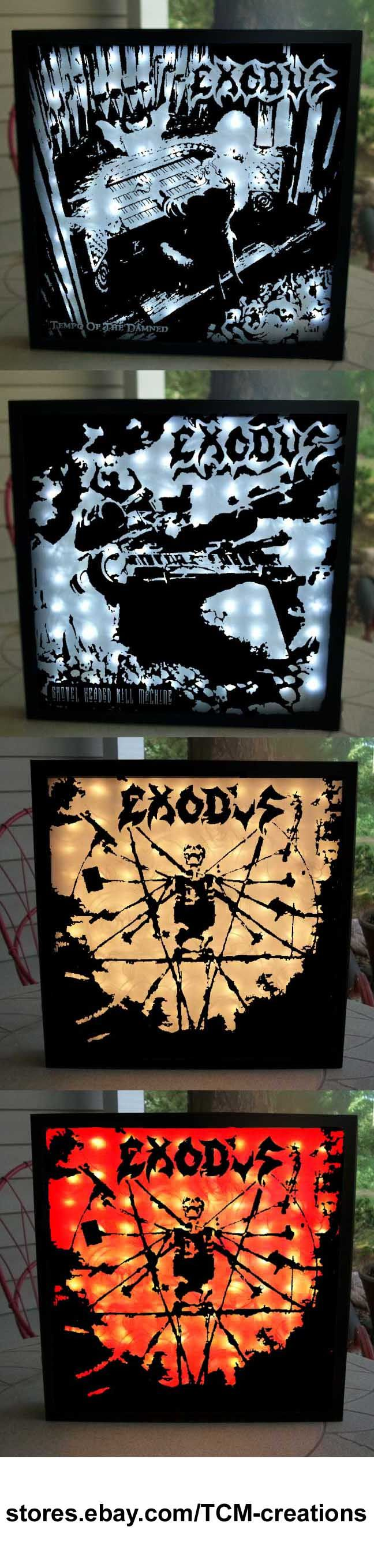Exodus Shadow Boxes with LED lighting.  Bonded By Blood, Pleasures Of The Flesh, Fabulous Disaster, Impact Is Imminent, Force Of Habit, Tempo Of The Damned, Shovel Headed Kill Machine, The Atrocity Exhibition... Exhibit A, Exhibit B: The Human Condition, Blood In Blood Out, Kirk Hammett, Paul Baloff, Steve Souza, Rob Dukes, Gary Holt, Rick Hunolt, Lee Altus, Rob Mckillop, Michael Butler, Jack Gibson, Tom Hunting, John Tempesta, Paul Bostaph