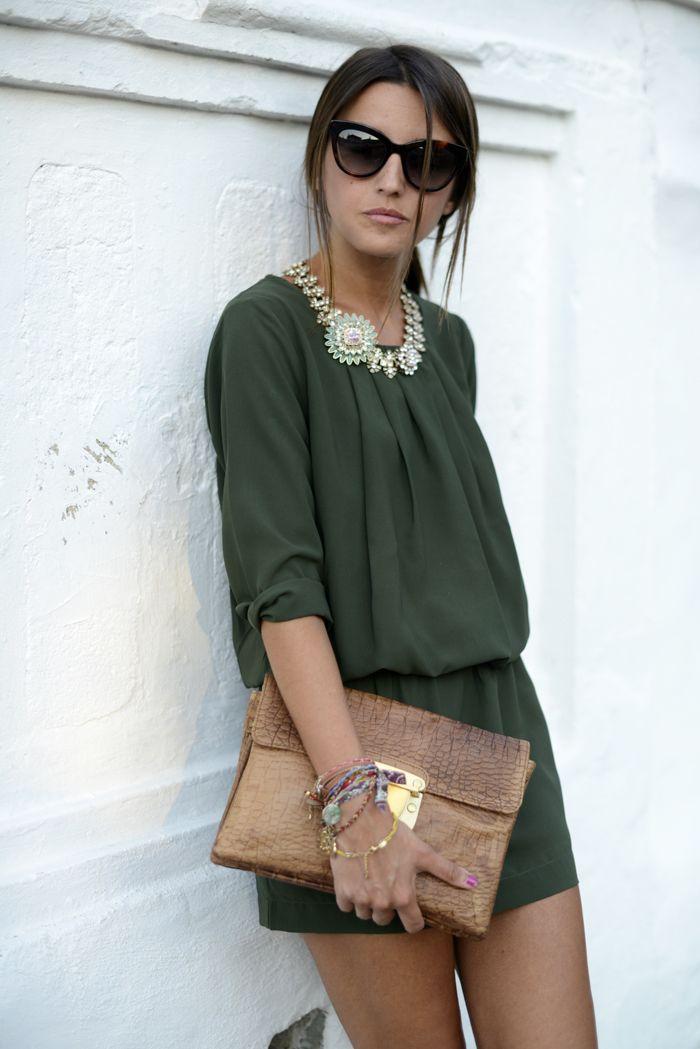 Green minidress by Vero Moda, statement necklace by Zara, clutch bag by SU – SHI, sunglasses byMarc by Marc Jacobs | Lovely Pepa