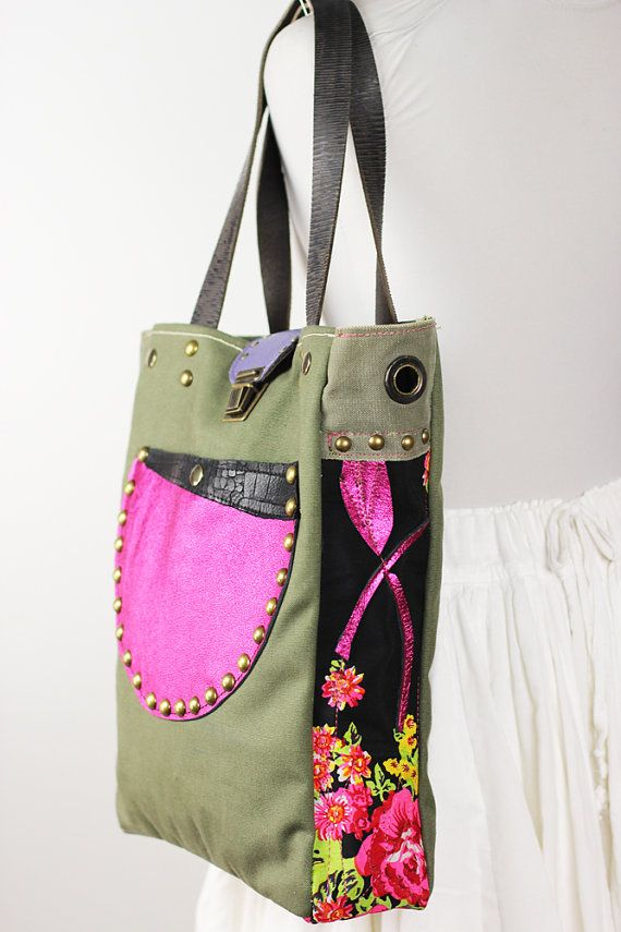 Canvas and Leather Tote Bag Military Green with by NeroliHandbags