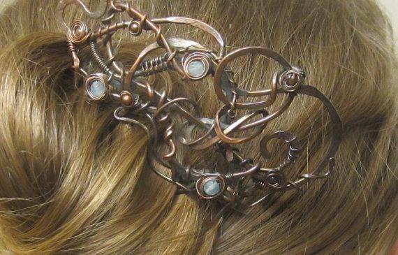 Steam punk hair comb/fork for long hair #fluidmetalsstudio