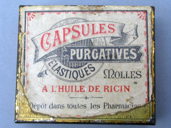 A very old tin that housed purgative capsules that contained ricin oil for constipation.