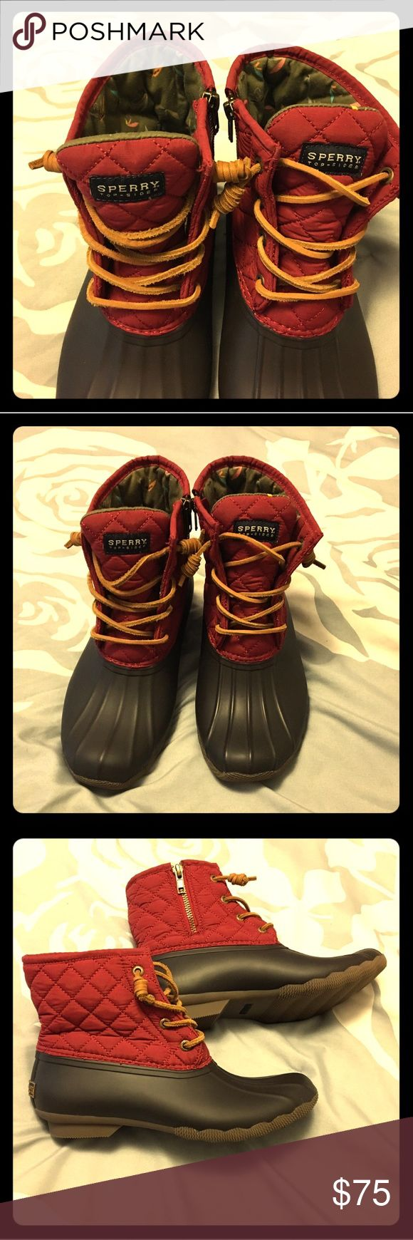Sperry Top-Sider red boots for women size 7. CUTE! Very cute Sperry Top-Sider boots for women size 7.  These boots are a true to size. Brand new. Red and dark brown with tan laces. Sperry Top-Sider Shoes Winter & Rain Boots