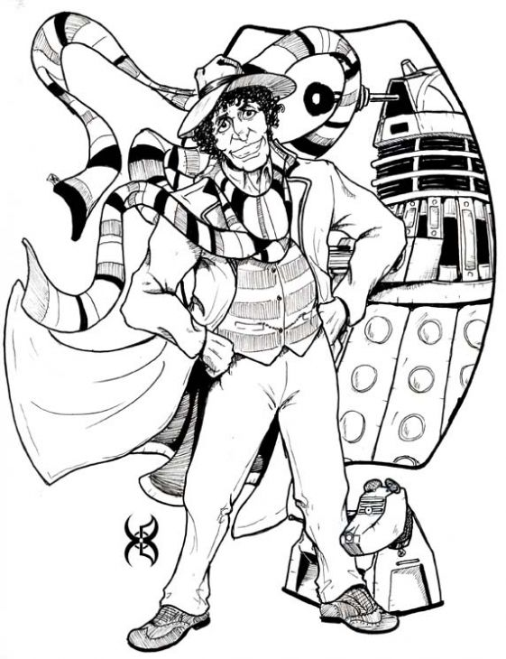 Tom Baker As A Doctor Who Coloring Page To Print For Free