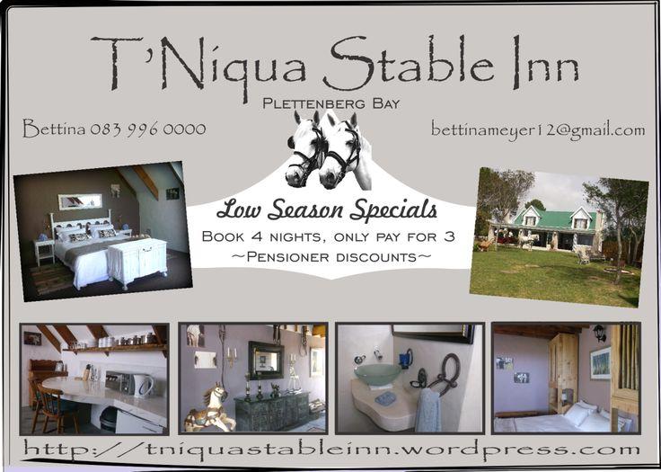 Low Season Specials #guesthousespecials #specials #plettenbergbay