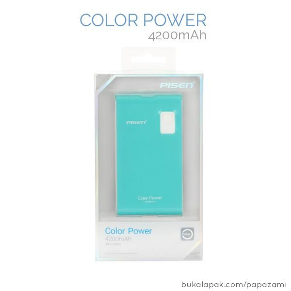 Pisen Color Power 4200mAh  Product name: color power Brand: Pisen Type: Power bank Weight: 117.3g / 0.12kg Capacity: 4200mah Size: 11.04cm x 5.80cm x 1.64cm Battery type: li-ion Output: DC5V==1A (Max) Input: USB 5V==1A  PISEN COLOR POWER 4200mAh * Great portability * Easy to carry * High conversion rate with high quality lithium ion battery * Compatible with majority of devices in the market  18 MONTHS Warranty