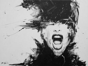 #art energy emotion black white scream