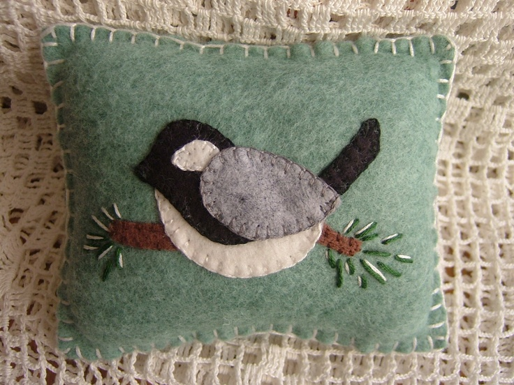 Etsy Transaction - Winter Chickadee - Penny Rug Pillow Pincushion with FREE SHIPPING