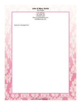 Leaves and petals fade from top to bottom around the pink border of this floral stationery. Free to download and print