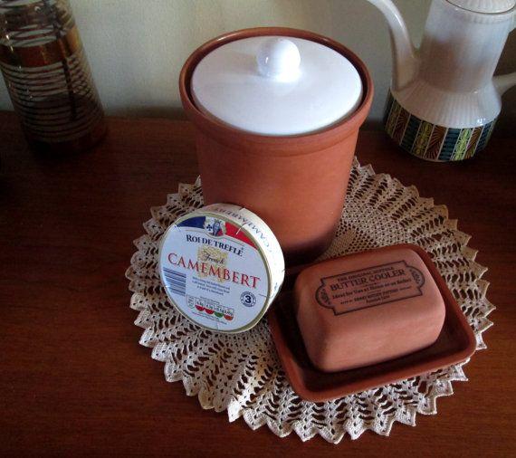 Terracotta pot kitchen storage, Henry Watson butter cooler, Terracotta kitchen canister Vintage butter dish Country kitchen Vintage canister
