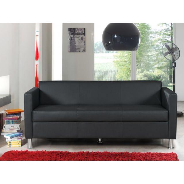 Rocambolesk Canape Cubo 3 Seat Pvc Noir Canape Angle Canape