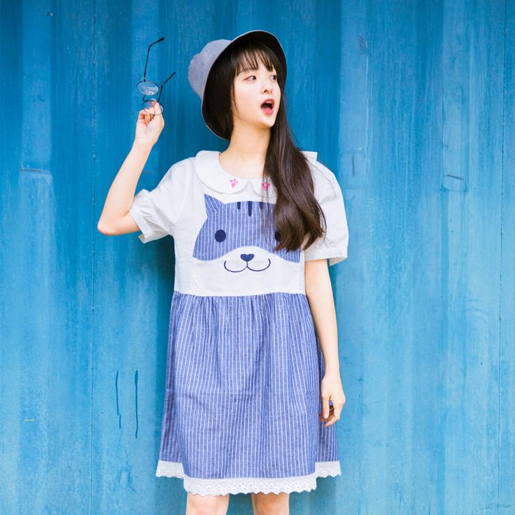 Girly Girl Shirts Dress on Girly Girl の To Alice.Girly Cute Cat Doll Colar Laced Dress Striped Embroid Gg254 the best choice for you to go out or work !