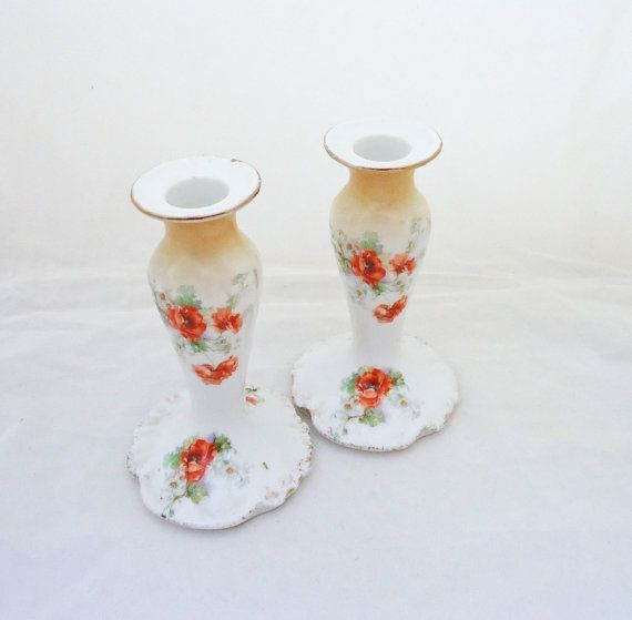 Limoges Porcelain Candle Holders Pair of by thesecretcupboard