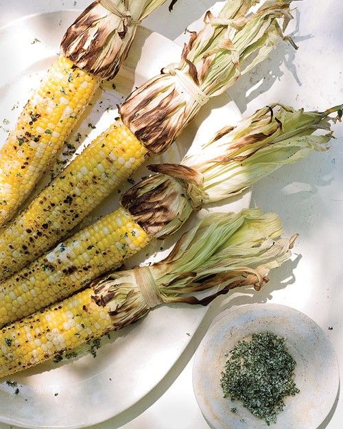 Cilantro, mixed with salt, gives a boost to grilled corn.