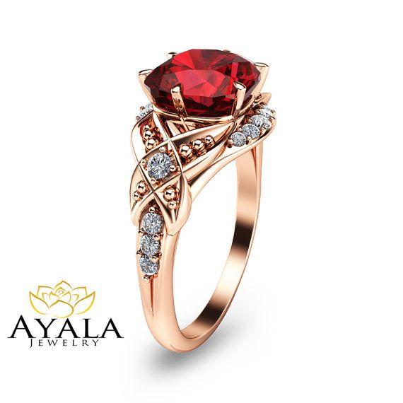 Unique Ruby Engagement Ring-Cushion Cut Ruby by AyalaDiamonds