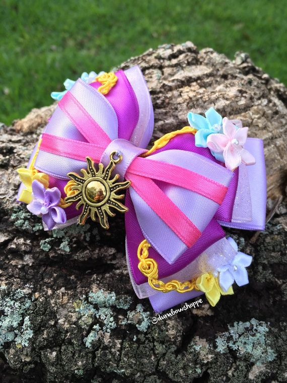 Deluxe Rapunzel Hair Bow with Alligator Clip by DumbowShoppe $18
