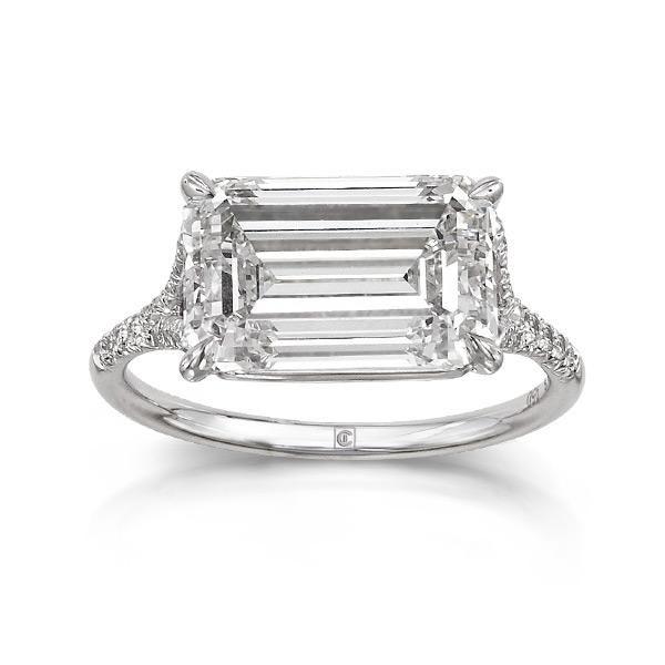 Updated emerald cut diamond engagement ring