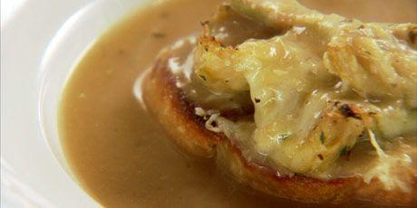 roasted garlic soup and artichoke croutons, Chuck Hughes