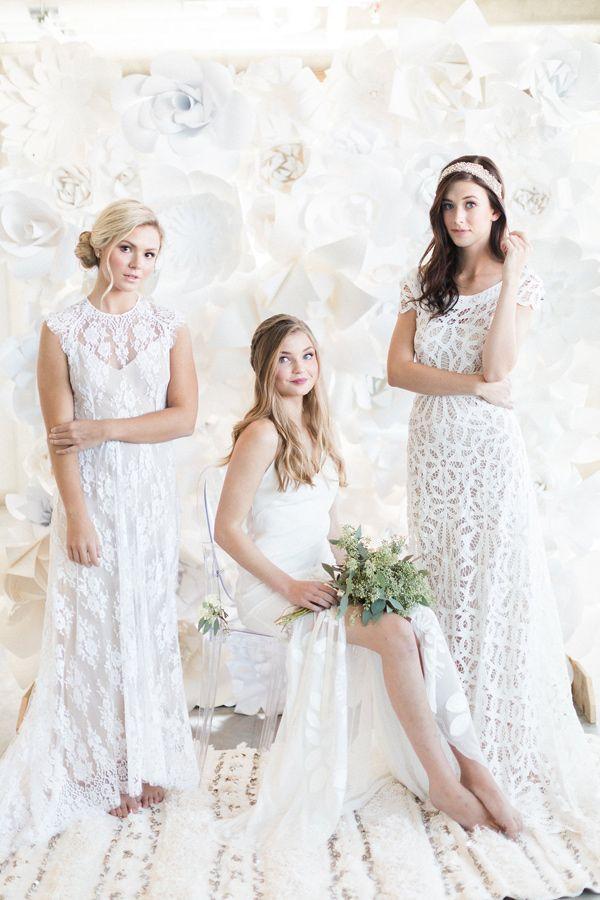 Rue de Seine wedding dresses - photo by Heidrich Photography http://ruffledblog.com/monochrome-bridal-inspiration