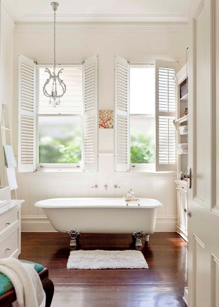 The spacious bathroom comes complete with a traditional claw-foot bath | Home Beautiful Magazine Australia