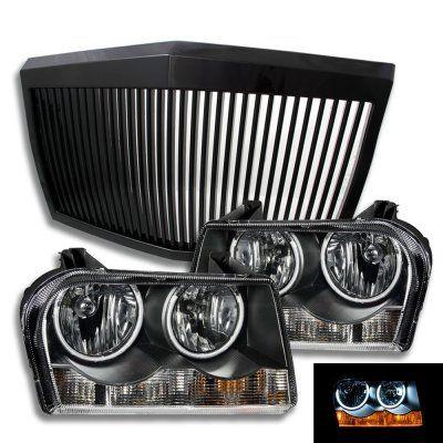 Chrysler 300 2005-2010 Black Phantom Grille and Halo Headlights