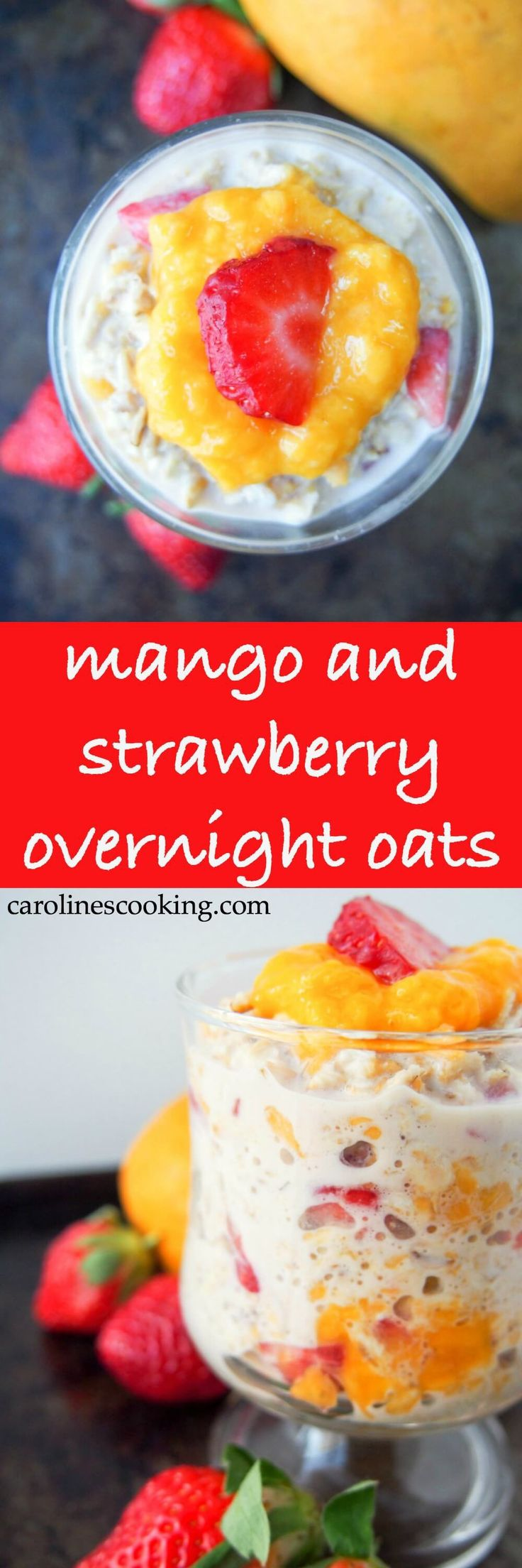 This mango and strawberry overnight oats is the perfect light breakfast for warmer weather. Deliciously smooth, creamy, fresh & fruity. And so easy to make!