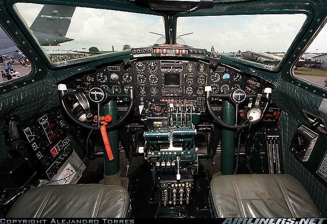 Boeing B-17 Flying Fortress cockpit.