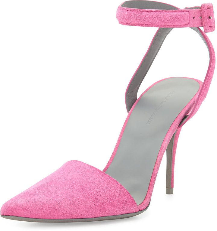Alexander Wang Lovisa Suede Ankle-Wrap Pump, Flamingo Pink
