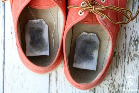 scented tea bags in shoes to get rid of stinky smell