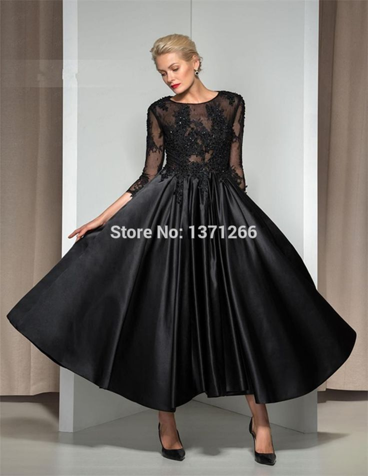 New Arrival Sexy See Through Black Evening Dresses 2017 Ankle-Length Satin Evening Gowns Vestidos de Fiesta