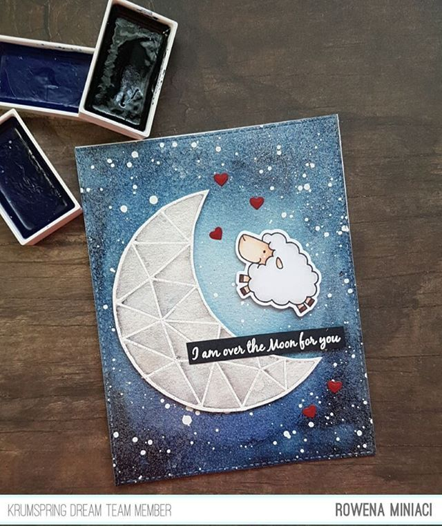 I'm up on the  Krumpspring blog(direct link on my profile) today showcasing the 'Shoot for the Moon' stamp from @krumspring_  stamp. It would be super sweet of you to stop by and say hi there!  Happy Friday everyone  #krumspringstamps #rmcards #krumspringdreamteam #watercolor #copic #gansaitambi #cards #stamping #crafting #krumspringtriangles