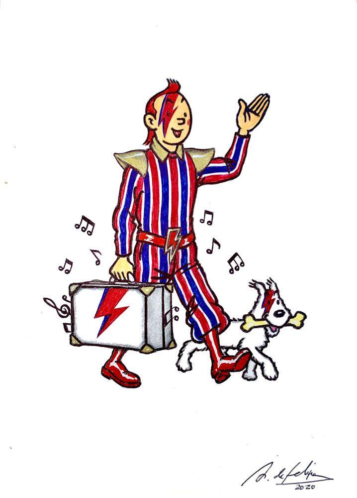 Store Antonio De Felipe Tintín Bowie Rey Del Glam La Fiambrera Tintin Lapices De Colores Papel Obra