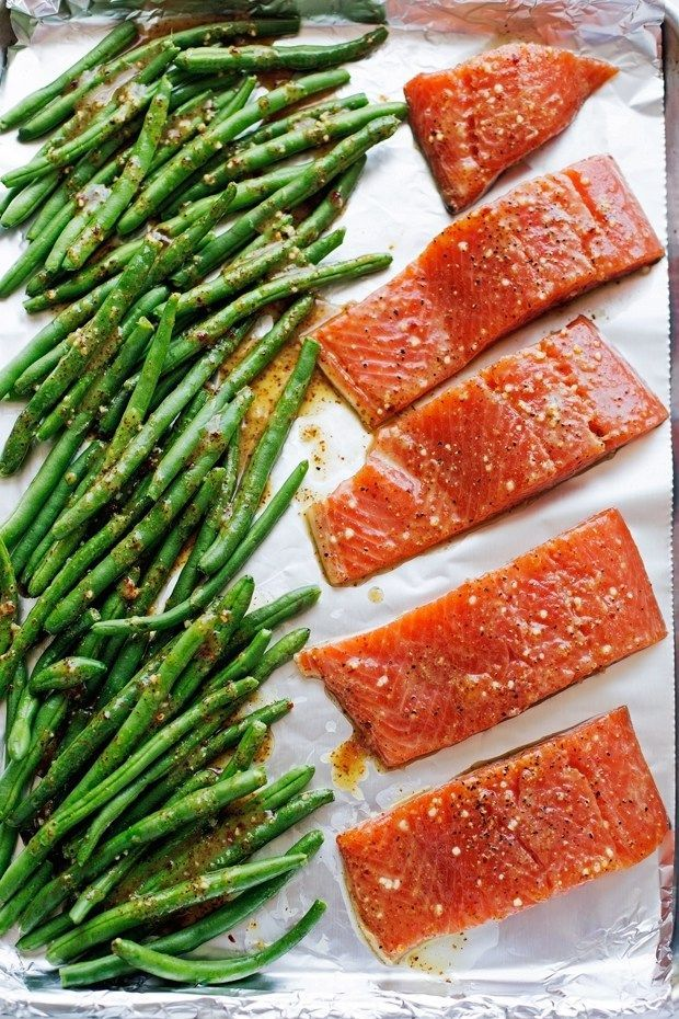 One Sheet Pan Honey Mustard Salmon with Green Beans - An easy weeknight dinner that's all baked in one pan! Feel free to substitute any pink fish (such as trout) for the salmon, and any green veggie (think broccoli or asparagus) for the beans