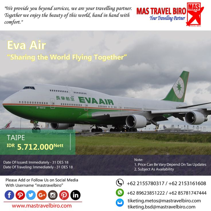 HOT PROMO Tiket EVA AIR, Cek yuk Sekarang selagi ada!  Beli tiket pesawat & KAI, booking hotel dan beli paket tour diMas Travel Biro ajaa.  #mastravelbiro #promotiket #travelservices #tiketpesawat #travelagent #tourtravel #travelindonesia #opentrip #familytour