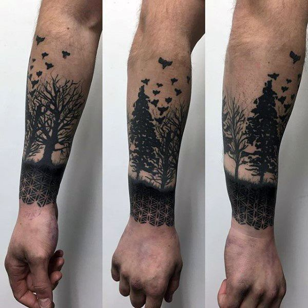 Forest Trees Flower Of Life Mens Lower Forearm Sleeve Tattoo Ideas