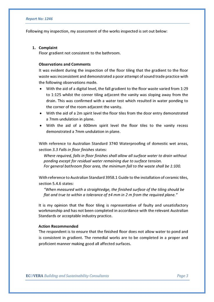 Findings from Contracted Independent Building report page 2