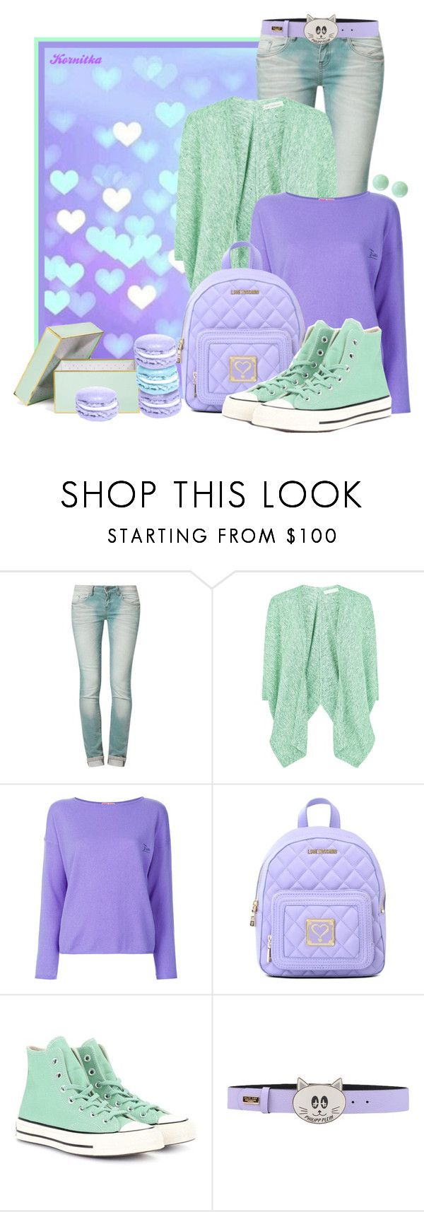 """nr 2036 / Candy Colors"" by kornitka ❤ liked on Polyvore featuring One Green Elephant, Fenn Wright Manson, Emilio Pucci, Love Moschino, Converse, Philipp Plein, Effy Jewelry, casual, comfy and candy"