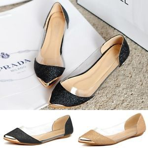 Black Gold Color Glitter Womens Casual Loafers Pointed Toe Flats Shoes New Q | eBay